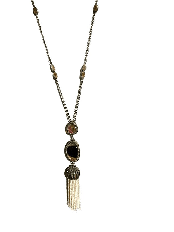 SS PEARL TASSEL AND TOURMALINE NECKLACE