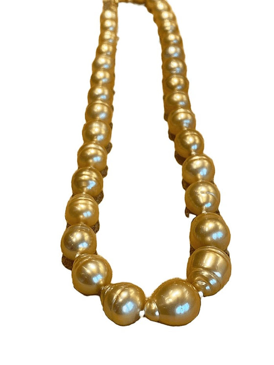Baroque Golden Pearl Strand Necklace