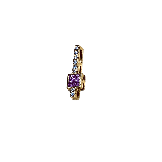 18KY PINK SAPPHIRE AND DIAMOND  PENDANT