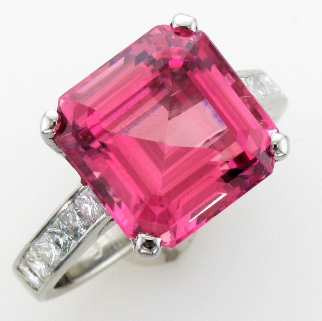 18KW PINK TOURMALINE DIAMOND RING