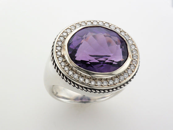 Silver Amethyst Ring with Diamond Accents