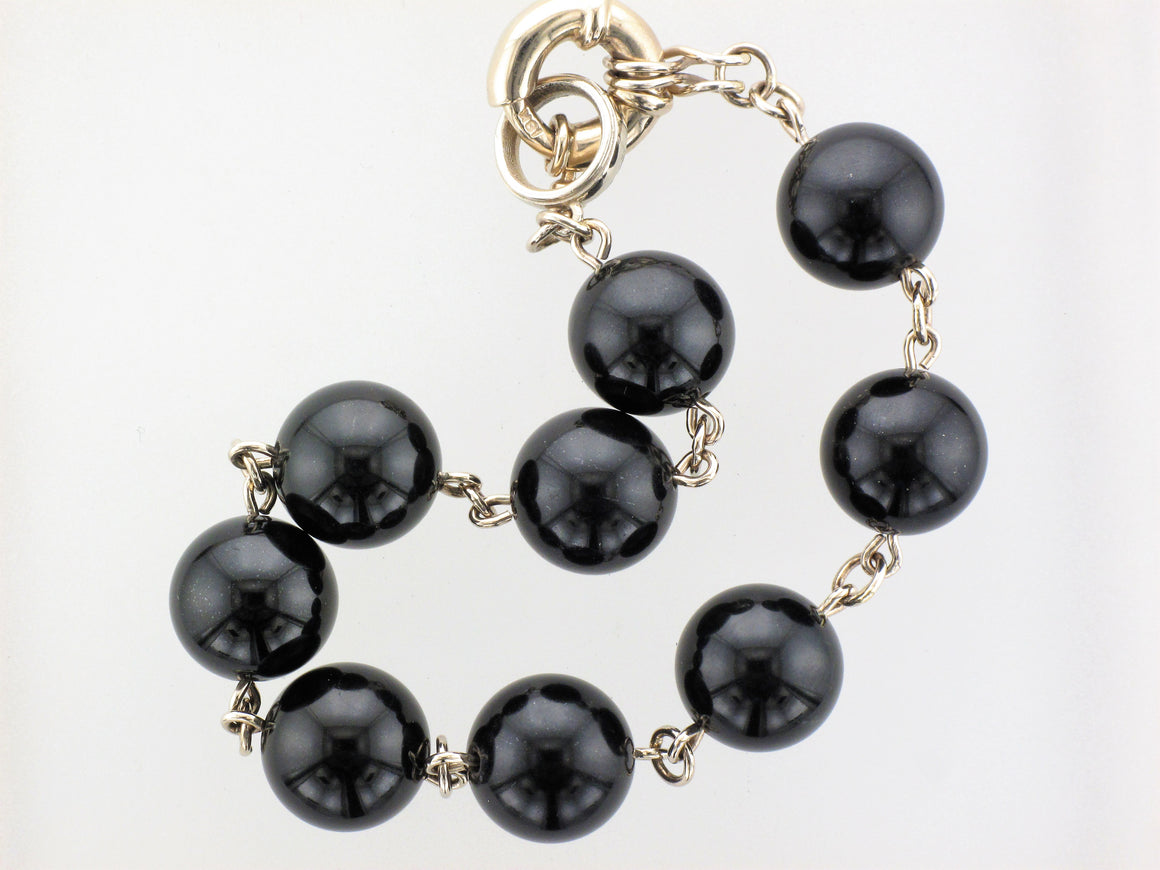 18KW Black Jade Beaded Bracelet