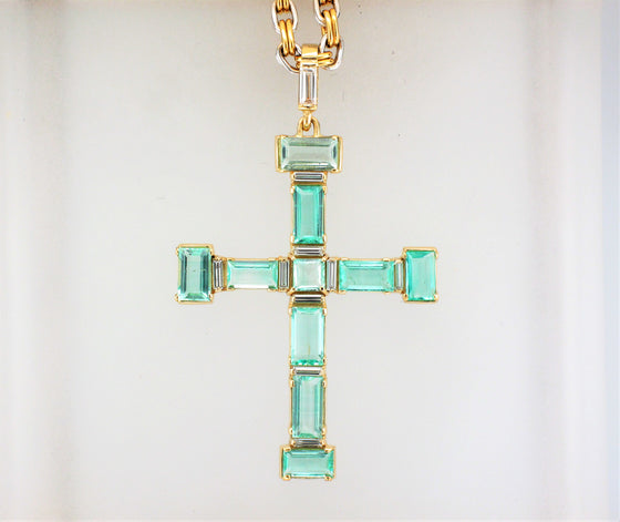 18KY Emerald and Diamond Cross Pendant