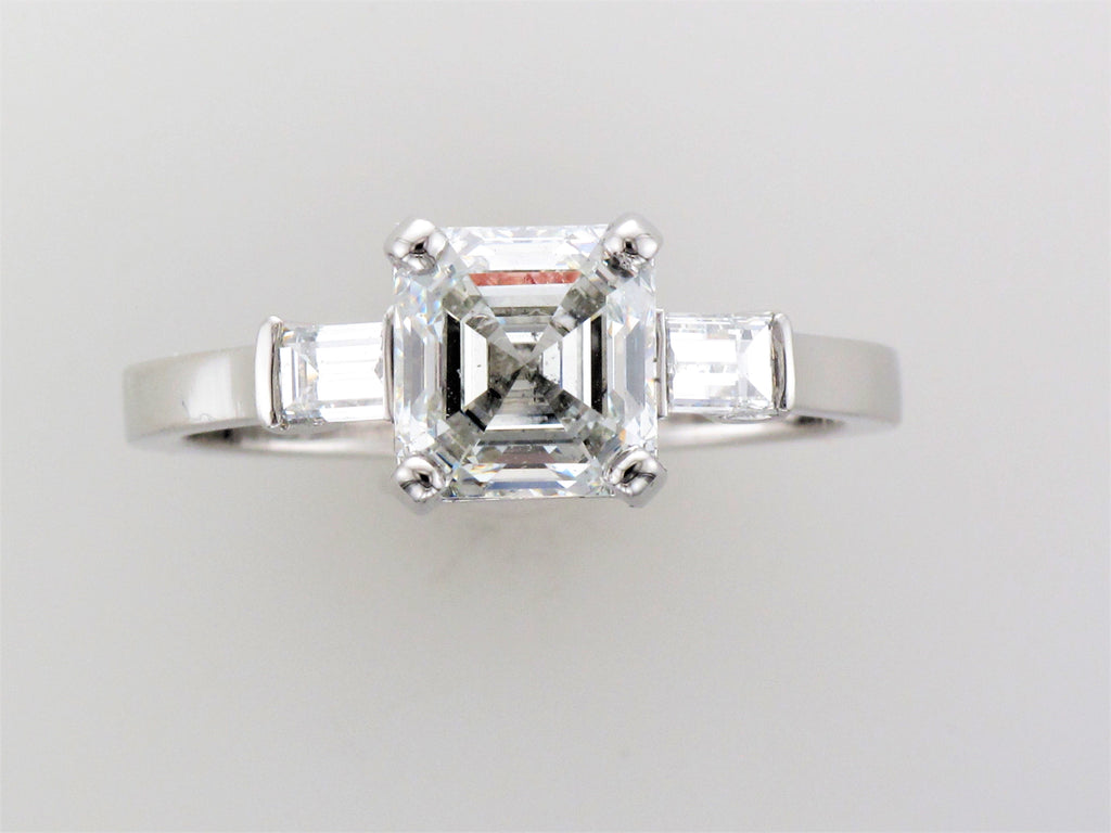 Platinum Asscher Cut Diamond Ring