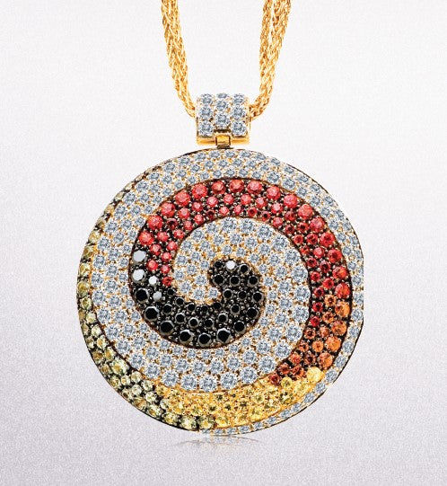 18KY Diamond and Multi-colored Sapphire Necklace