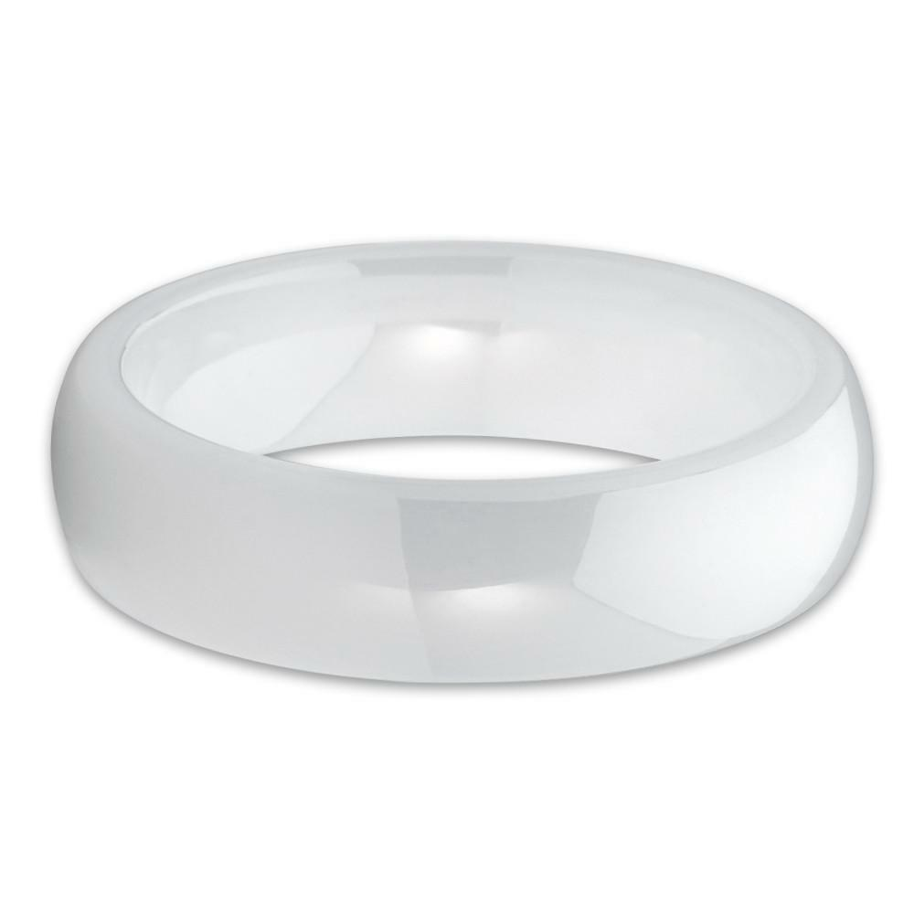 White Domed Ceramic Band