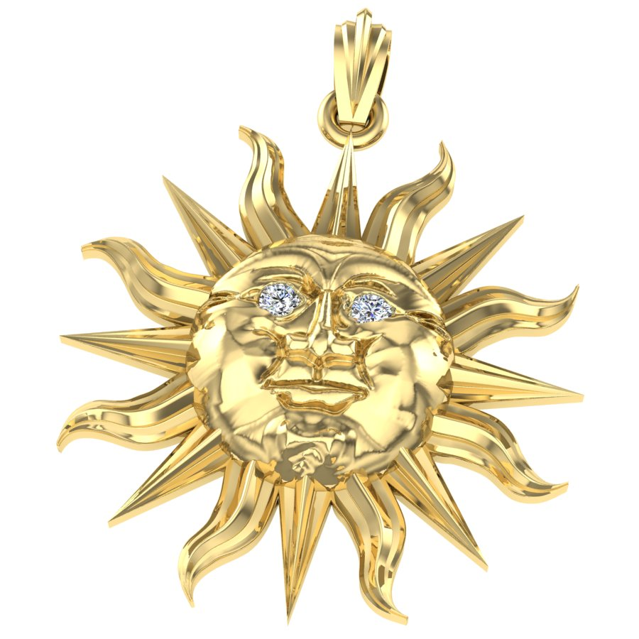 Anniversary Diamond Eyes Sun Pendant