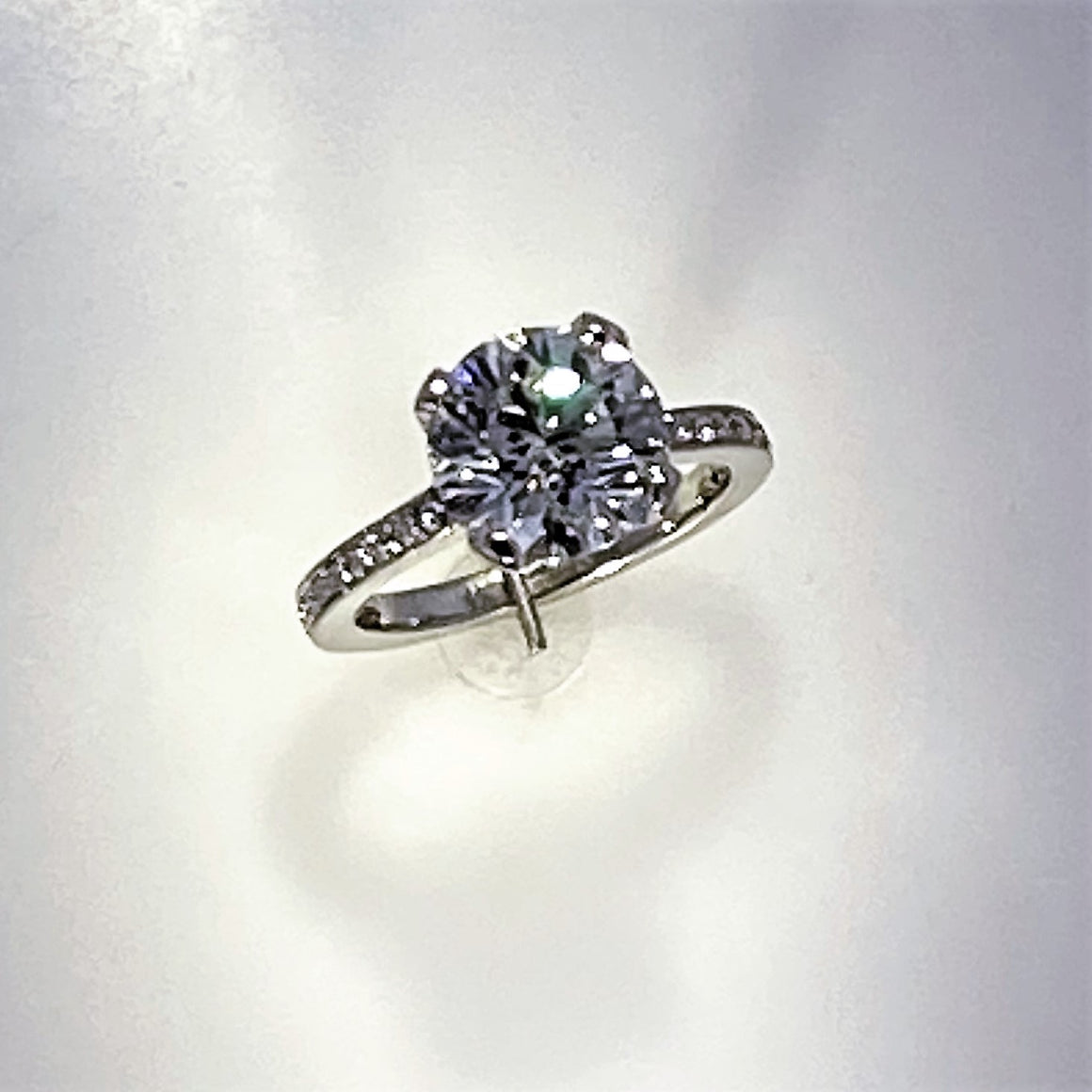 18KW Round Brilliant Diamond Ring with Diamond Shank
