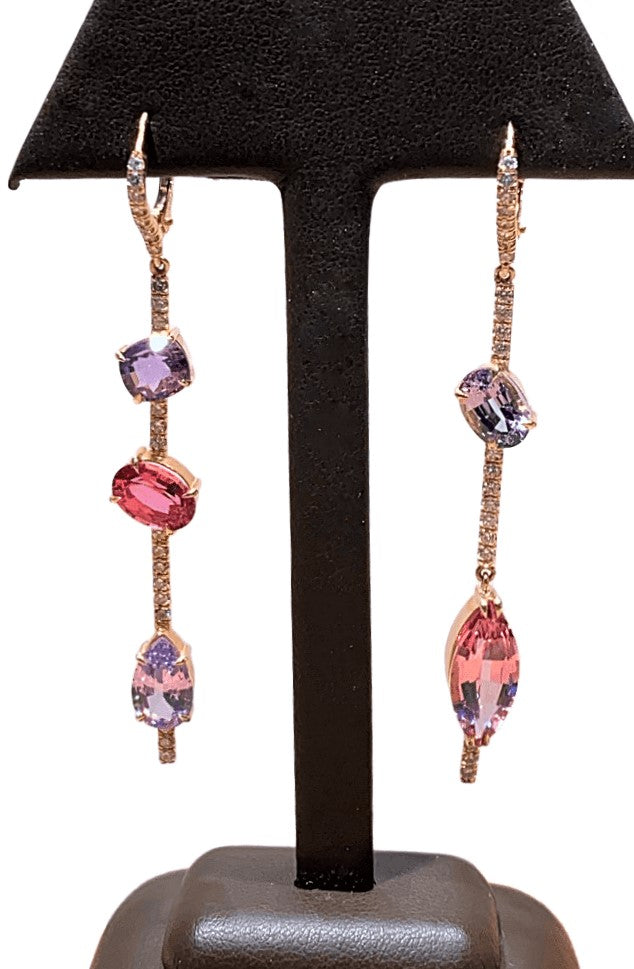18KR Spinel and Diamond Earrings