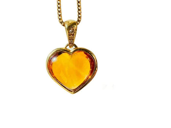 18KY CITRINE PUFF HEART PENDANT
