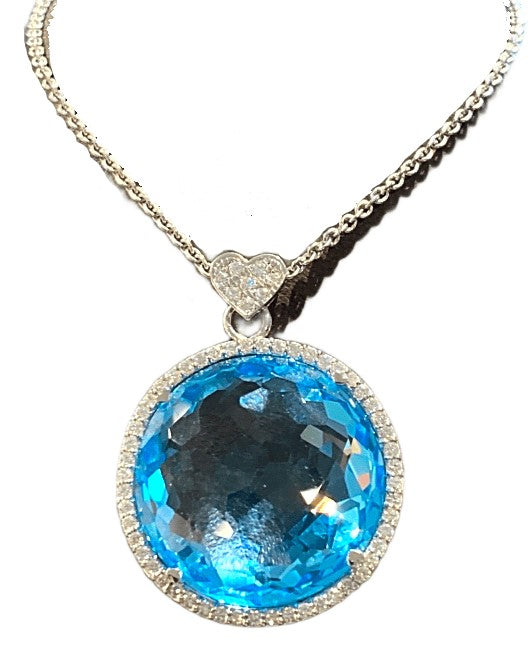 18KW Blue Topaz Necklace with Diamond Accents