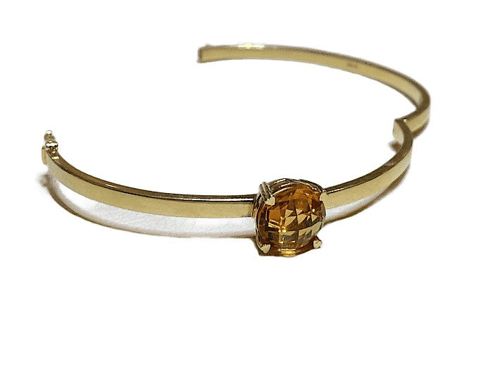 18KY HINGED BANGLE BRACELET WITH CITRINE