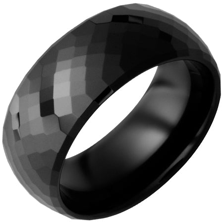 Black Ceramic Faceted Band