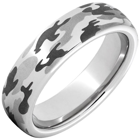 Serinium Domed Band with Camo Laser Engraving