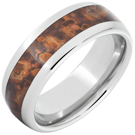 Serinium Domed Band with Medium Distressed Copper Inlay
