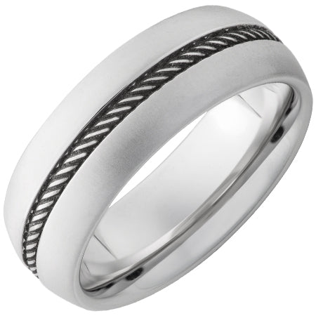 Serinium Domed Band with Rope Finished Center and Laser Satin Edges