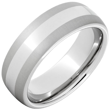 Serinium Domed Band with Laser Satin Edges