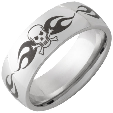 Serinium Domed Band with Skull Laser Engraving