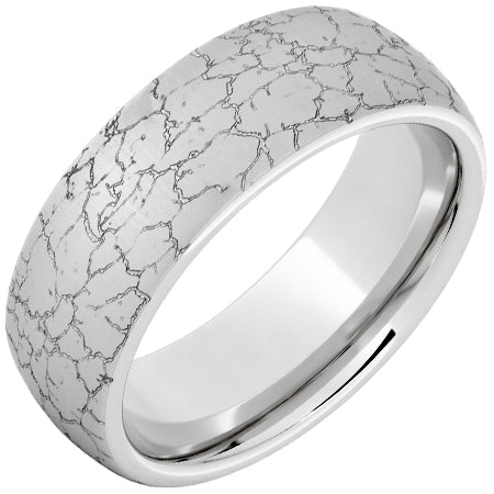 Serinium Domed Band with Tectonic Laser Engraving
