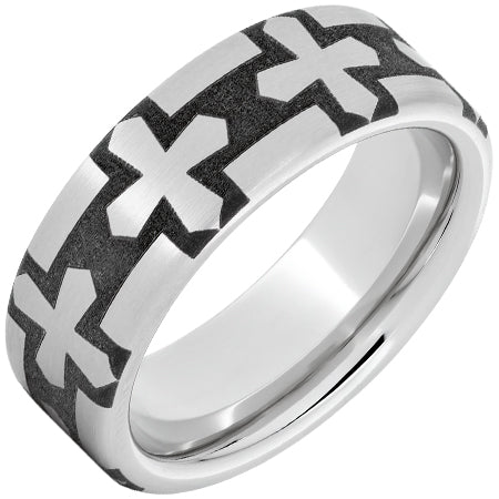 Serinium Pipe Cut Band with Gothic Cross Laser Engraving