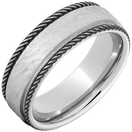 Serinium Flat Band with Rope-Style Rounded Edges and Bark Hand Finish