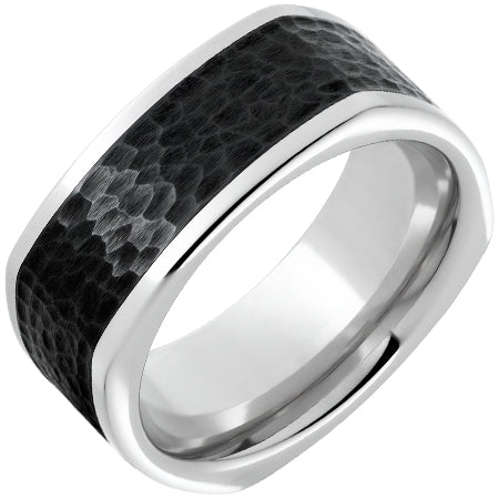 Serinium Square Band with Hammered Black Ceramic Inlay