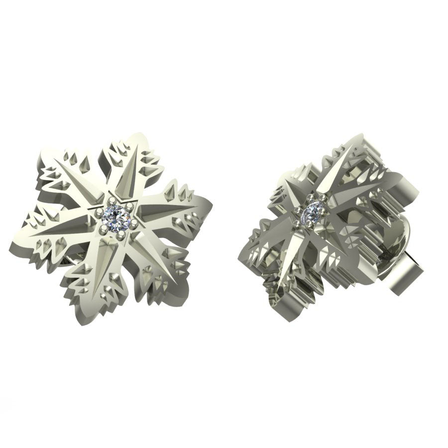 Snowflake Star Diamond Earrings