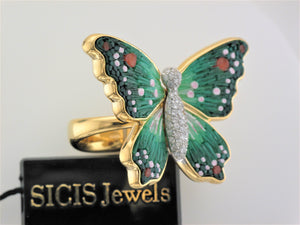 18KY .35CTW DIA, GRN MICRO MOSAIC BUTTERFLY RING SZ7