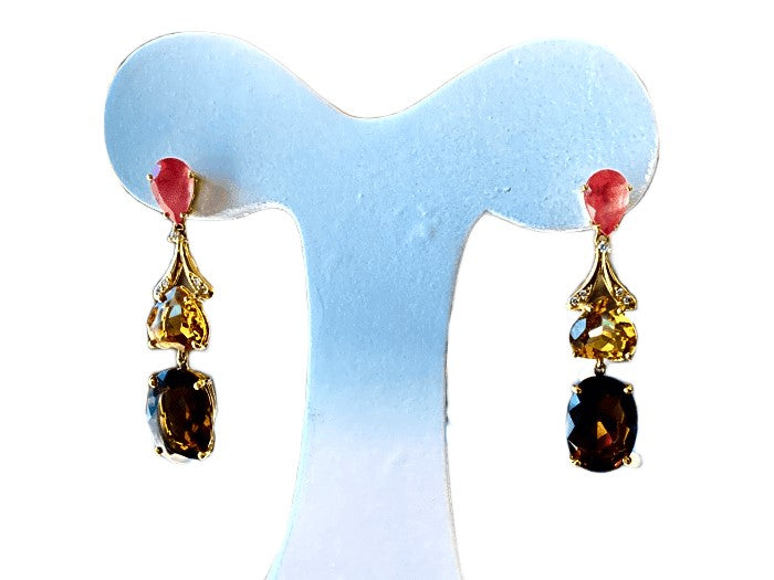 18KY CITRINE AND RHODOCHROSITE DROP EARRINGS
