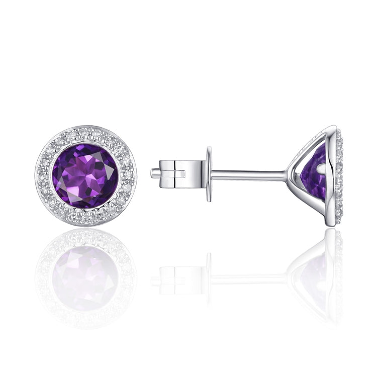 14KW AMETHYST DIAMOND HALO STUD EARRING