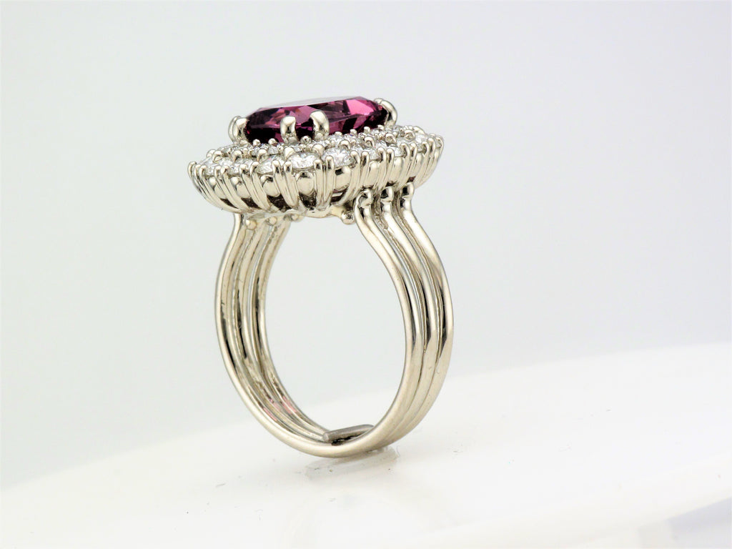 18KW Purple Pink Spinel and Diamond Ring