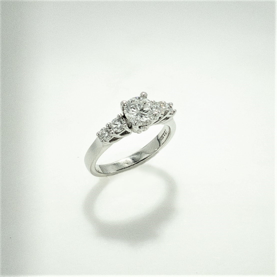 Platinum Round Diamond Ring  with Diamond Accents