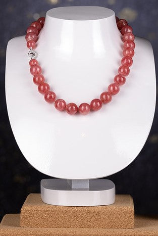 14KW Rhodochrosite Beaded Necklace