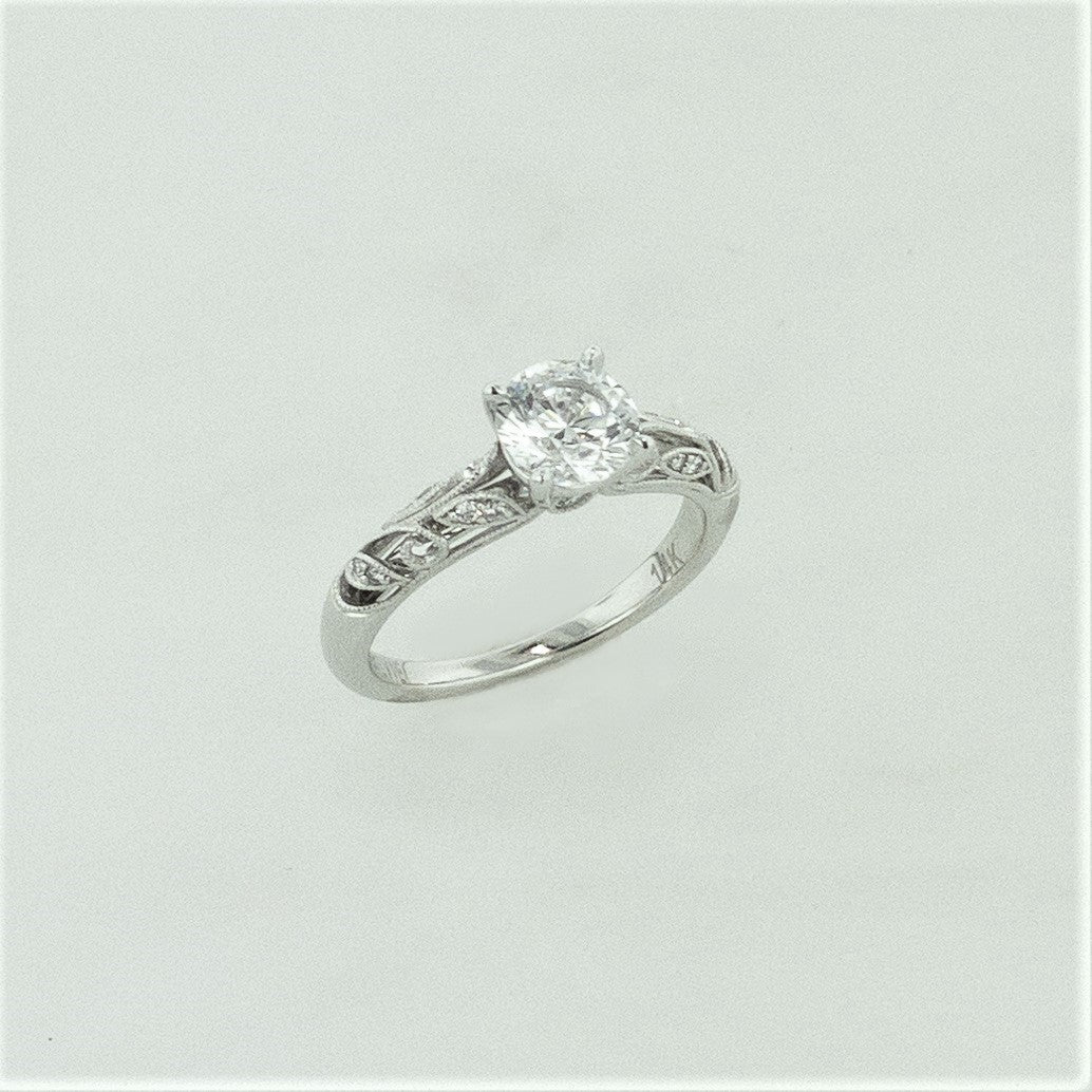 14KW Filagree Diamond Ring
