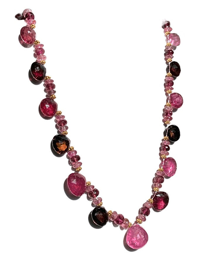 18KY PINK TOURMALINE NECKLACE
