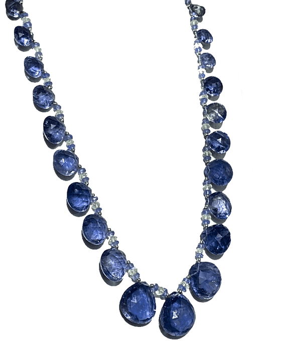 18KW IOLITE, TANZANITE, & MOONSTONE NECKLACE