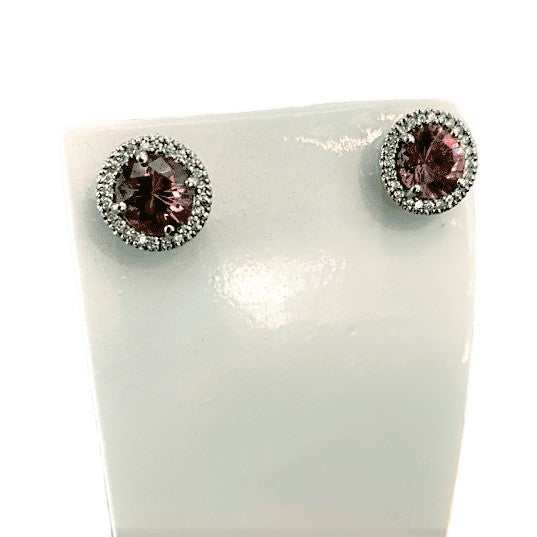18KW PINK TOURMALINE AND DIAMOND STUD EARRINGS