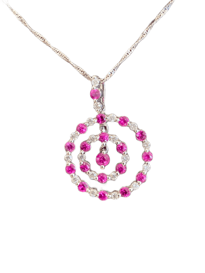 18KW RUBY AND DIAMOND GEOMETRIC NECKLACE