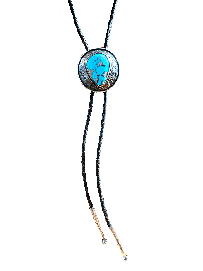 SS  Turquoise Black Leather Bolo