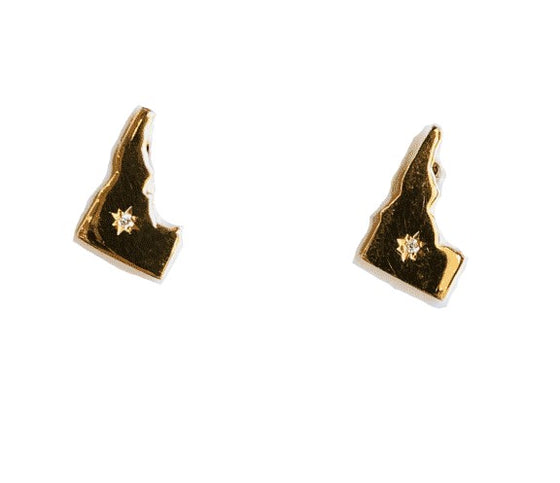 14KY Idaho State Earrings w/ Diamonds