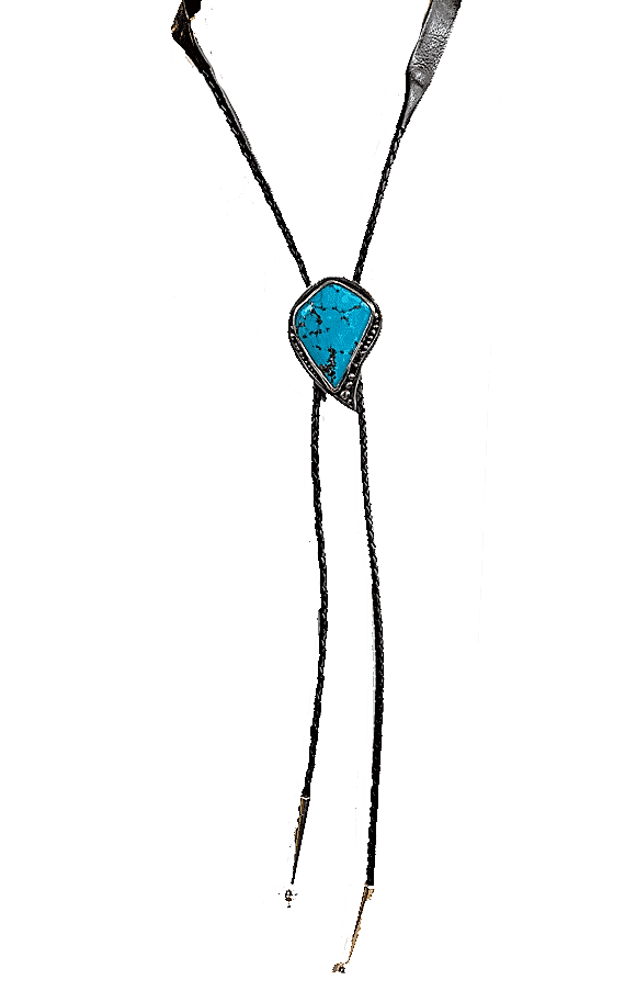 Black Leather Turquoise Bolo Tie