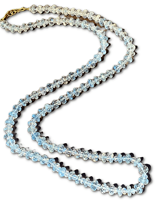 18KY AQUAMARINE AND MOONSTONE BEAD NECKLACE 30""