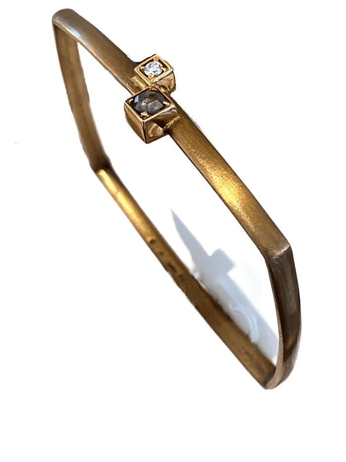 BRONZE  RECTANGLE BANGLE WITH DIAMOND ACCENTS