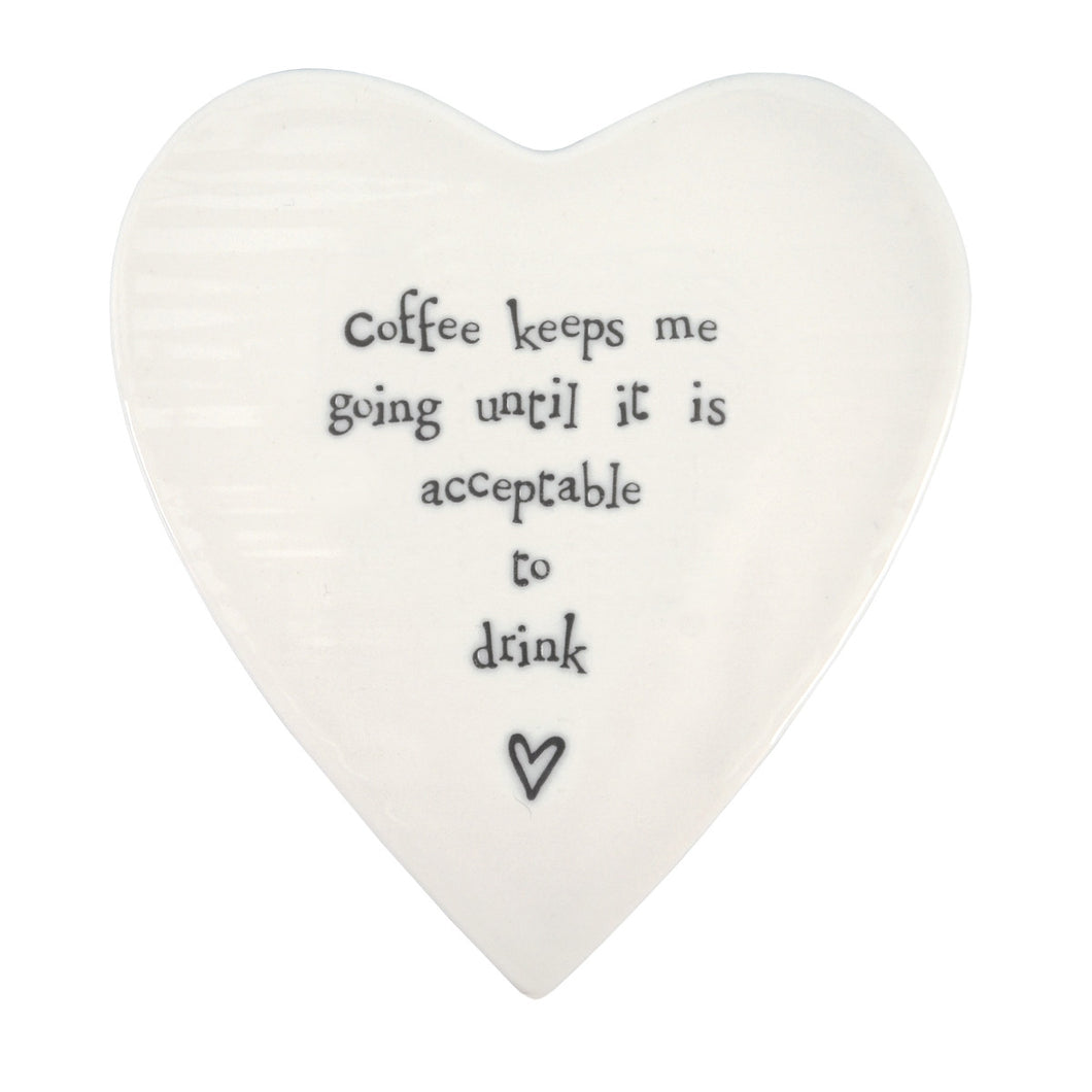 East of India 'Coffee Keeps Me Going' Porcelain Coaster