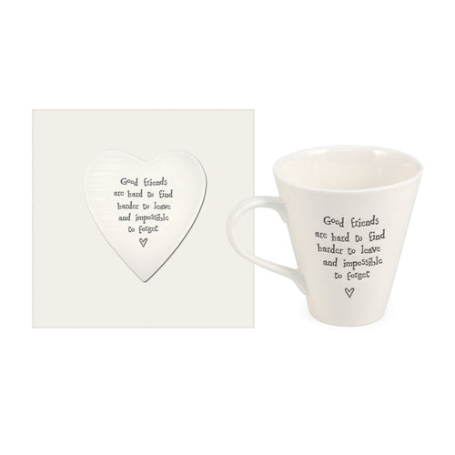 East of India 'Good Friends Are Hard To Find' Porcelain Mug