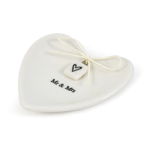 East of India 'Mr and Mrs' Porcelain Heart Ring Dish