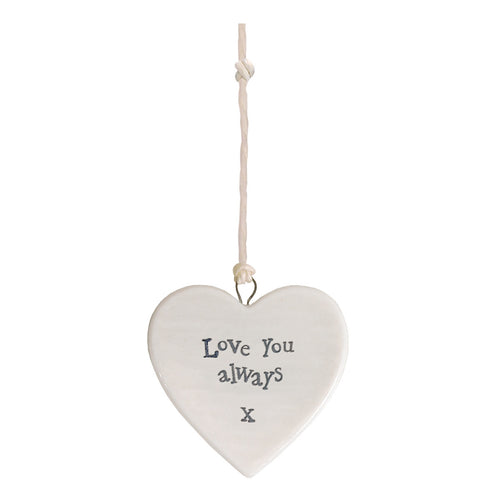 East of India 'Love You Always' Small Hanging Heart
