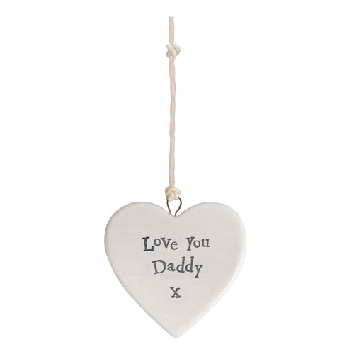 East of India 'Love You Daddy' Small Hanging Heart