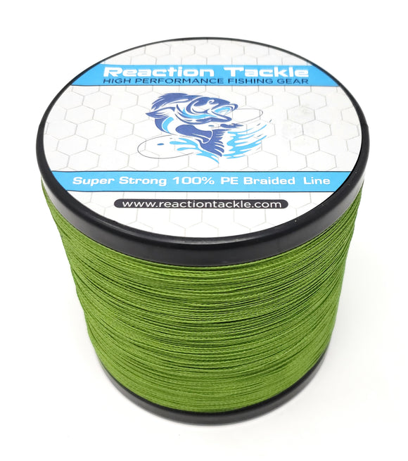 Reaction Tackle Braided Fishing Line- NEW NO FADE Low-Vis Green