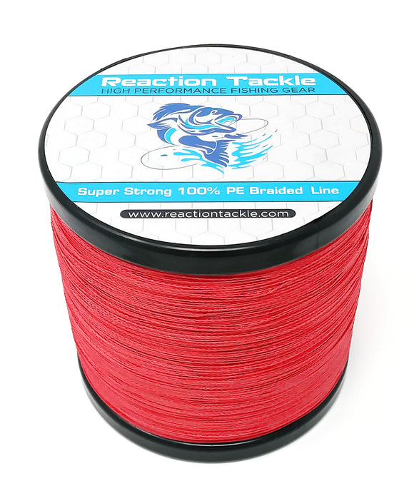 Reaction Tackle Braided Fishing Line- NEW NO FADE Red
